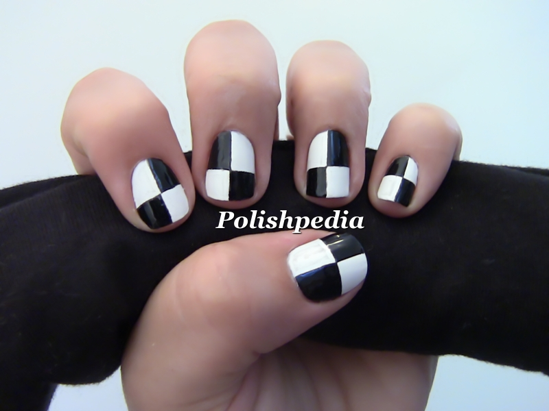 Black And White Color Blocking Nails