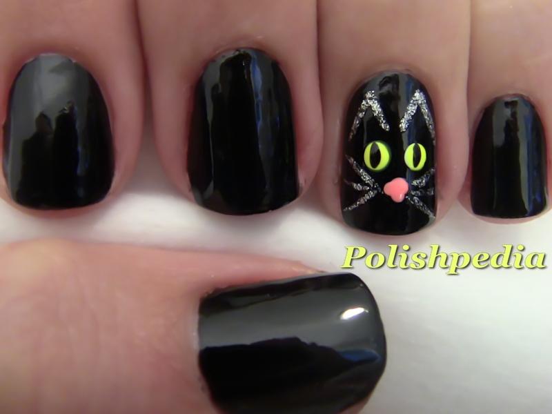 Black Cat Nail Design