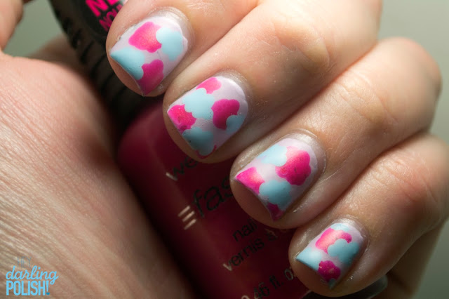 Nails.Nail Polish, Nail Art, Clouds, Tri Polish Challenge, Pink, Blue, Purple, Lilac