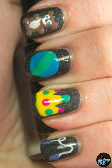 nails, nail art, nail polish, i love nail polish a.c.slater, toys, christmas winter challenge, hey darling polish