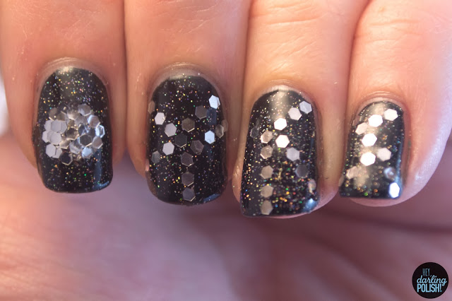 nails, nail art, nail polish, glequins, black, fairy dust, hey darling polish