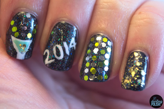nails, nail art, nail polish, new years eve, black, sparkles, glequins, hey darling polish