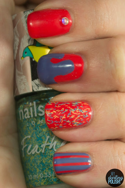 nails, nail art, nail polish, rhinestone, slime nails, bar glitter, stripes, new york color spring street, sinful colors lavander, nails inc brighton