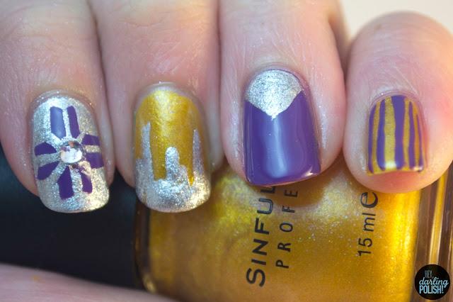 nails, nail polish, nail art, hey darling polish, tri polish challenge, purple, gold, silver, nail skittles