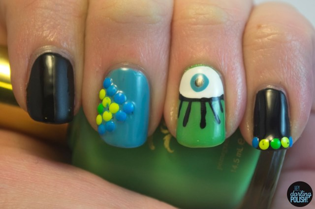 nails, nail art, nail polish, skittles, nail skittles, eye, eye nail art, studs, hey darling polish