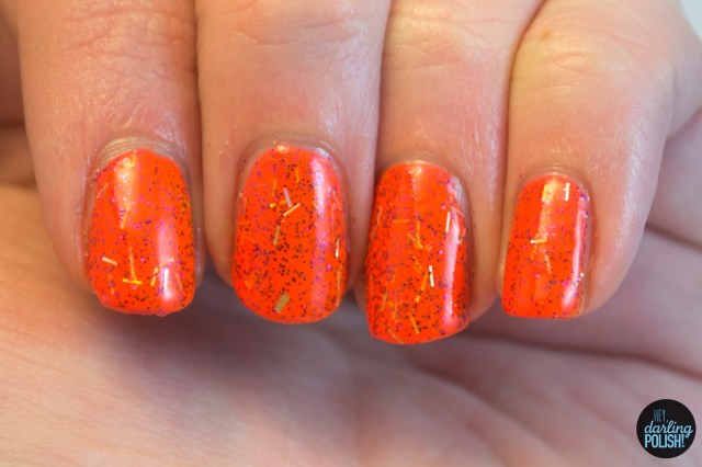 hey darling polish, swatches, indie, indie polish, cascade polish, pumpkin spice, orange, bar glitter, glitter, neon