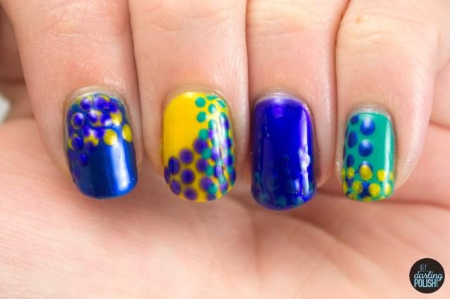 nails, nail art, nail polish, polish, dots, polka dots, golden oldie thursdays, hey darling polish
