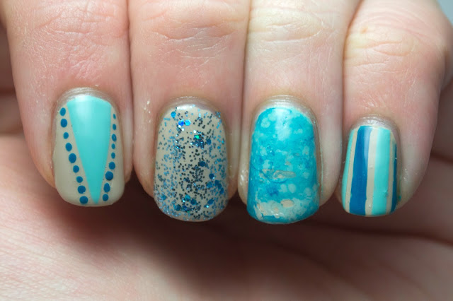 nails, nail polish, nail art, nail skittles, polish, neutral, blue, glitter, stripes, water spotted, china glaze for audrey, opi did you ear about van gogh?, hey darling polish