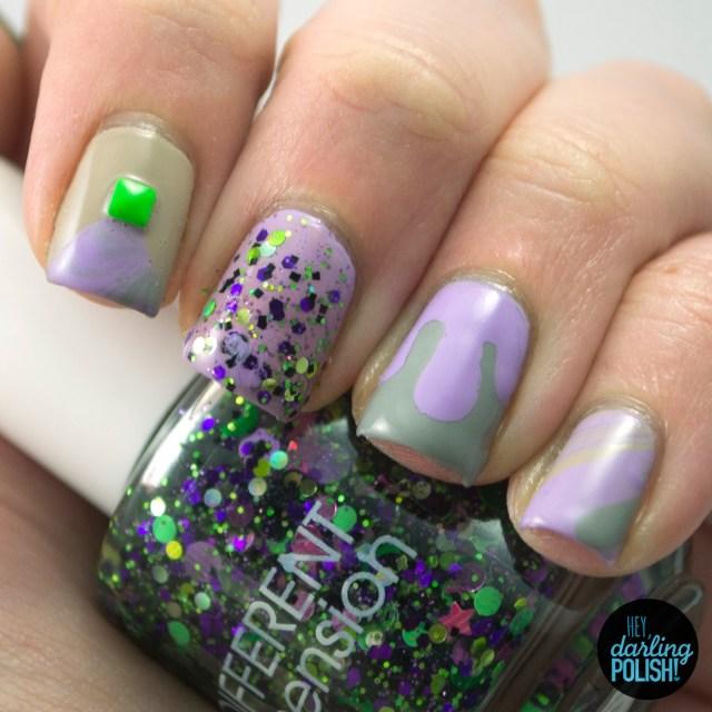nails, nail art, nail polish, polish, purple, grey, neutral, stud, glitter, nail skittles, watermarble