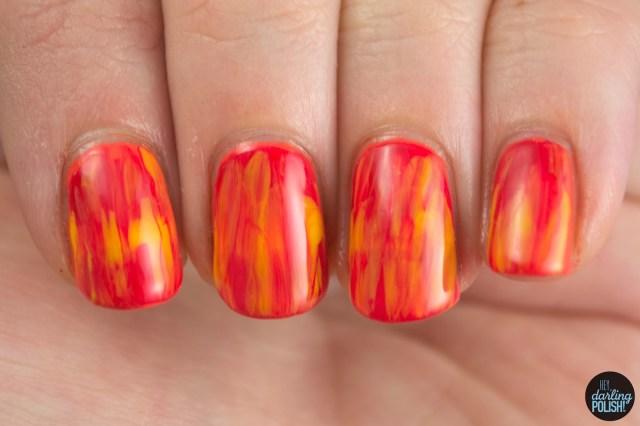 nails, nail polish, polish, nail art, red, yellow, orange, tri polish challenge, tpc, color drag, hey darling polish