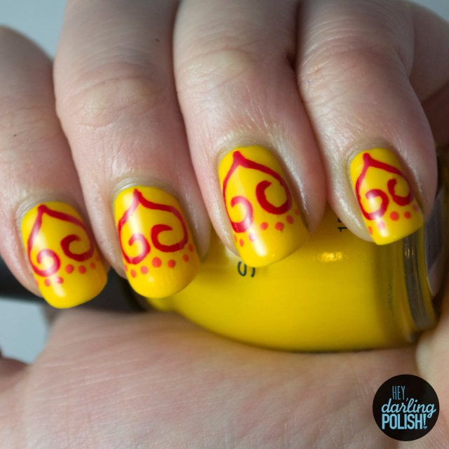 nails, nail polish, polish, nail art, yellow, red, orange, hey darling polish, tri polish challenge, tpc