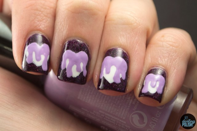 nails, nail art, nail polish, polish, hearts, purple, nail art a go go, slime, drips, hey darling polish