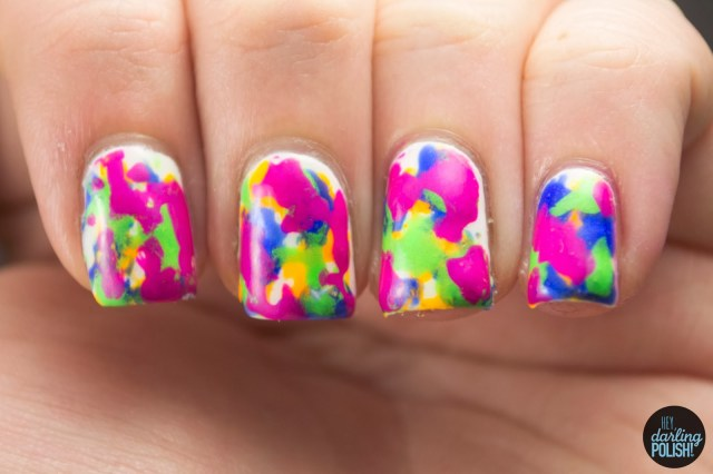nails, nail art, nail polish, polish, neon, toothbrush, hey darling polish, nail art a go go, pink, green, blue, orange, white, china glaze