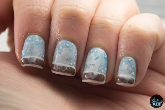 nails, nail art, nail polish, polish, snow day, coffee, nail art a go go, hey darling polish