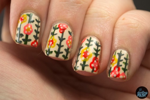 nails, nail art, nail polish, polish, nail art a go go, wallpaper, flowers, floral, leaves, stripes, hey darling polish
