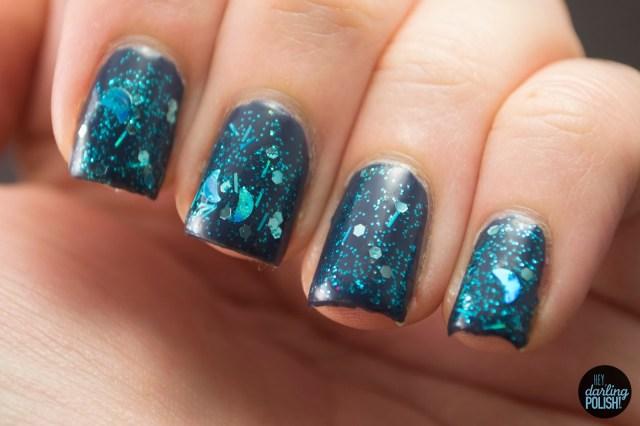 blue, aqua, moons, glitter, shaped glitter, aqua blue moon, nails, nail polish, indie, indie polish, indie nail polish, sick lacquers, hey darling polish,