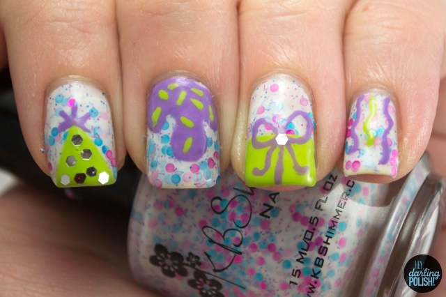 nails, nail art, nail polish, polish, indie, indie polish, kbshimmer lottie dottie, birthday, celebration, pink, blue, white, purple, green, theme buffet, hey darling polish
