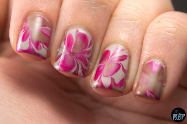 nails, nail art, nail polish, polish, watermarble, pink, brown, grey, tri polish challenge, tpc, hey darling polish