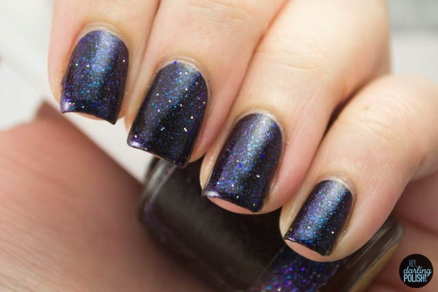 coated in polish, indie, indie polish, hey darling polish, swatching, a polish dimension, black, purple, blue