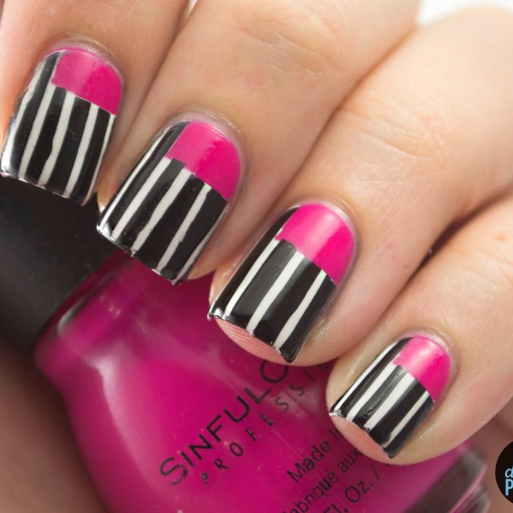 Music Monday Sick Of Sarahs 2205 Polish Those Nails Nail Art Pink Black White