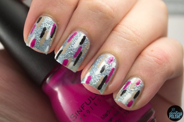 nails, nail art, nail polish, polish, lines, pattern, hey darling polish,