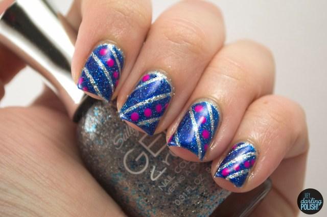 nails, nail art, nail polish, polish, stripes, dots, blue, silver, pink, theme buffet, hey darling polish