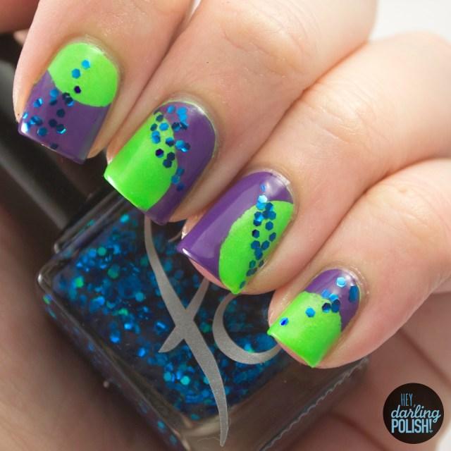 nails, nail art, nail polish, polish, tri polish challenge, tpc, green, blue, purple, hey darling polish, glitter