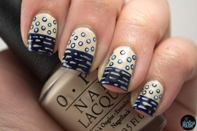 nails, nail art, nail polish, polish, vintage, navy, blue, love angeline, dots, stripes, hey darling polish, pattern