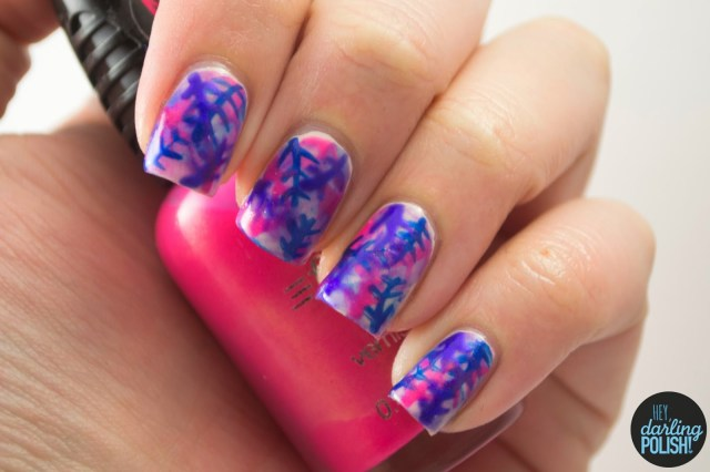 nails, nail art, nail polish, polish, golden oldie thursdays, tropical, pink, blue, purple, hey darling polish