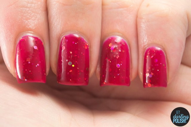red, not your mama's cranberry sauce, gold, glitter, nails, nail polish, polish, indie, indie nail polish, indie polish, hey darling polish, shirley ann nail lacquer, swatch