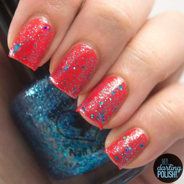 shotgun wedding, nails, nail polish, polish, indie, indie polish, indie nail polish, shirley ann nail lacquer, glitter, blue, hey darling polish