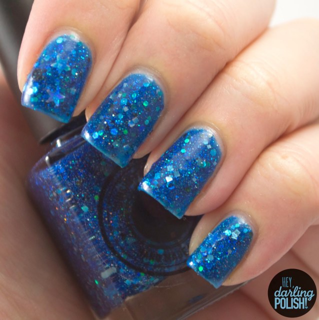 blue, glitter, glitter crelly, no space & time, nails, nail polish, polish, indie, indie polish, indie nail polish, review, swatches, squishy face polish, spring collection