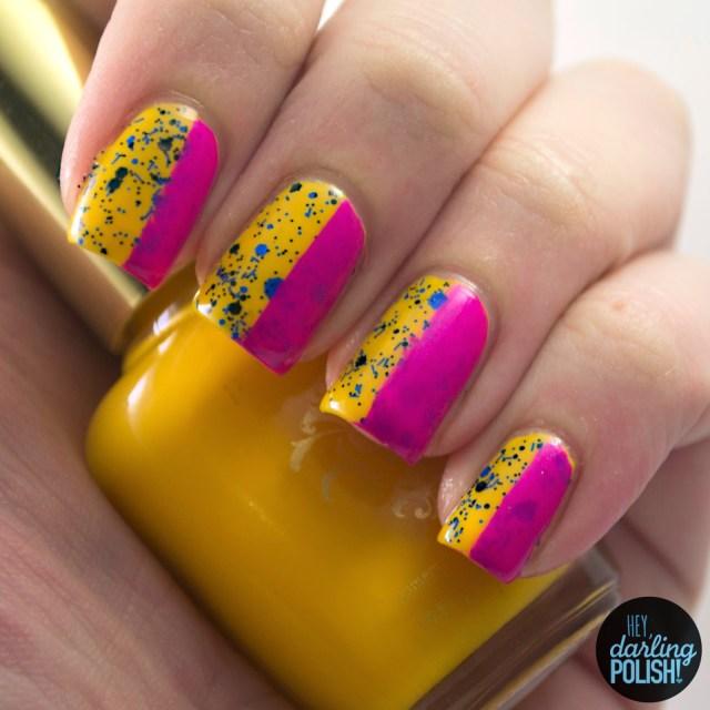 nails, nail art, nail polish, polish, yellow, pink, blue, glitter, hey darling polish, tri polish challenge, tpc, stripes