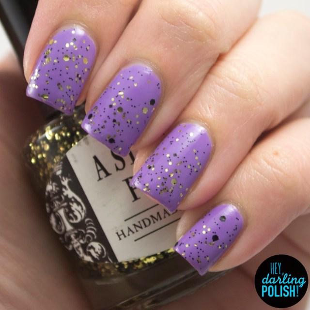purple, 221b, gold, black, nails, nail polish, polish, indie, indie polish, indie nail polish, hey darling polish, a study in polish, glitter,