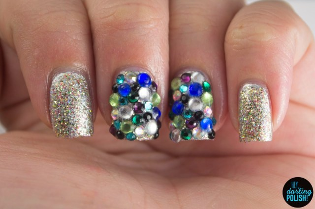 nails, nail art, nail polish, polish, silver, rhinestones, sparkly, gold, hey darling polish, golden oldie thursdays