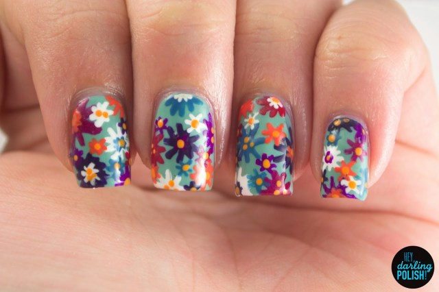 nails, nail art, nail polish, polish, garden, flowers, floral, hey darling polish, LLgarden, Lacquer Legion