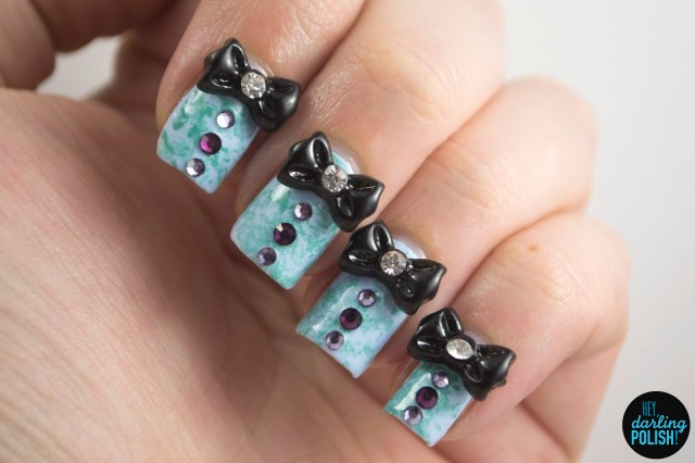 nails, nail art, nail polish, polish, blue, teal, bows, rhinestones, hey darling polish, the never ending pile challenge, tgpnpc