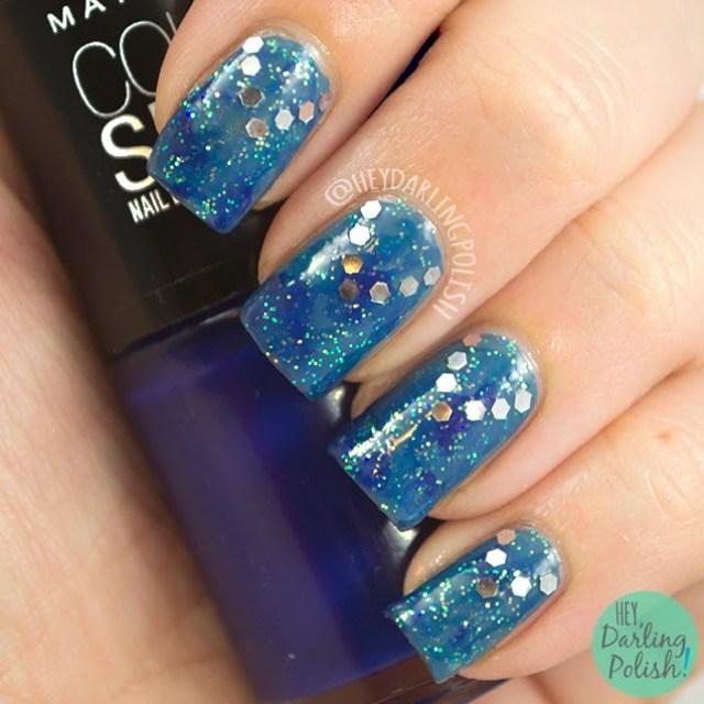 nails, nail art, nail polish, polish, blue, glequins, sparkle, golden oldie thursdays, hey darling polish, watercolor