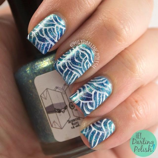 nails, nail art, nail polish, blue, sea, waves, hey darling polish, the nail art guild,