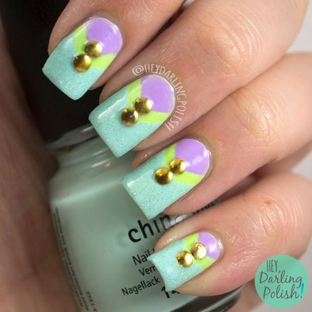 nails, nail art, nail polish, polish, neon, purple, blue, green, studs, the never ending pile challenge, hey darling polish, china glaze