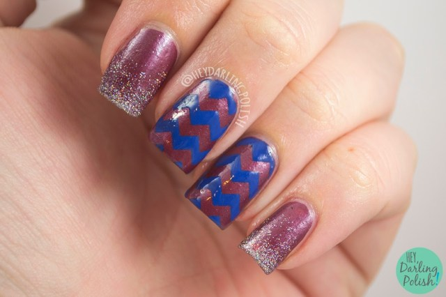 nails, nail art, nail polish, chevrons, gradient, glitter, the never ending pile challenge, hey darling polish