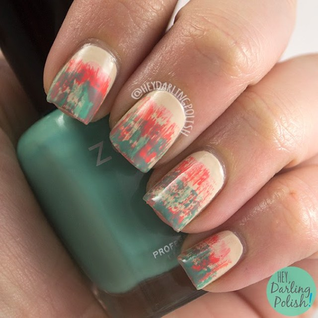 nails, nail art, nail polish, tri polish challenge, distressed, hey darling polish,
