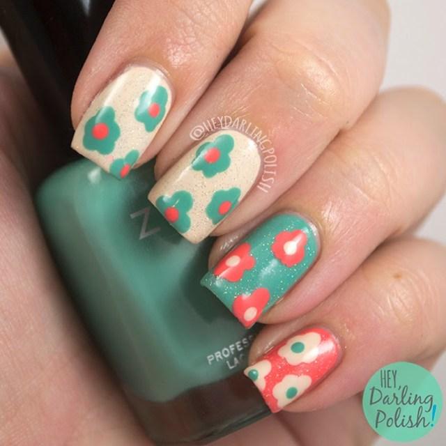 nails, nail art, nail polish, polish, flowers, tri polish challenge, hey darling polish