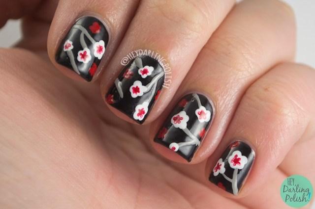 nails, nail art, nail polish, floral, pattern, hey darling polish, finger food theme buffet, black, japanese