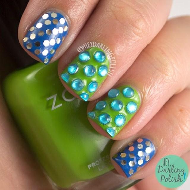 nails, nail art, nail polish, blue, green, zoya, glitter, rhinestones, hey darling polish, oh mon dieu part deux