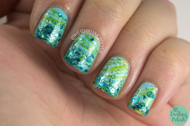 nails, nail art, nail polish, watermarble, glitter, indie polish, green, teal, glitter gradient, oh mon dieu part deux, hey darling polish