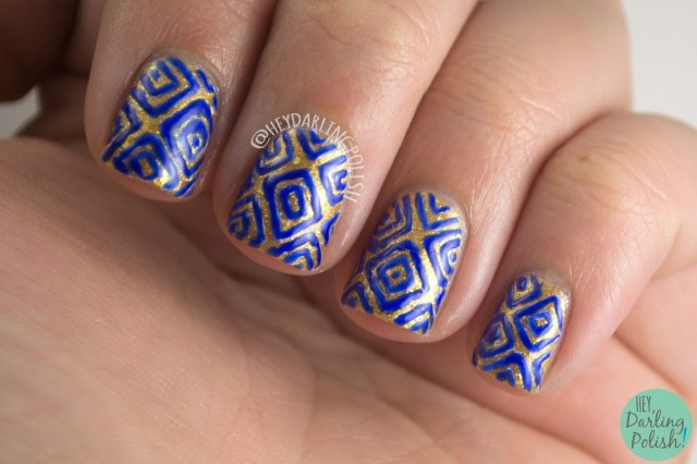 hey darling polish, kitty polish, pattern, nail art, nail polish, indie nail polish, indie polish, gold, blue, geometric, freehand