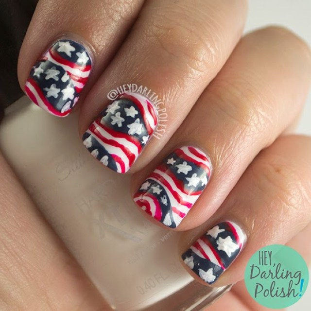 nails, nail art, nail polish, america, july 4th, red, white, blue, stars, stripes, murica, the nail art guild, hey darling polish