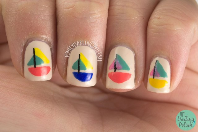 nails, nail art, nail polish, sailboats, boats, nautical, nautical nail art, hey darling polish, oh mon dieu part deus,