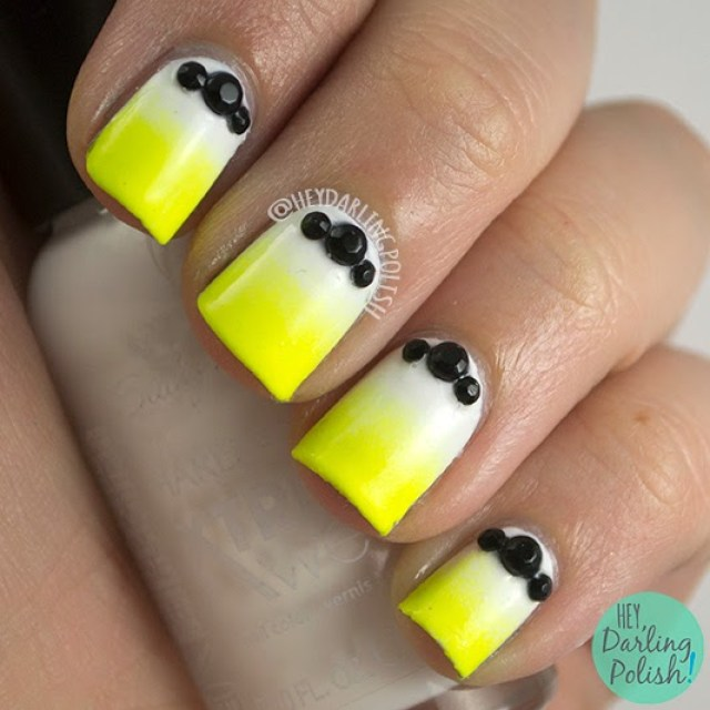 nails, nail art, nail polish, gradient, neon, studs, hey darling polish, the nail challenge collaborative